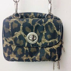 Baggallini Green Leopard Nylon Crossbody Bag
